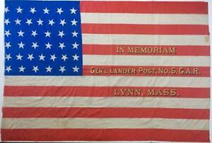 c1877-SILK-38-STAR-US-AMERICAN-FLAG-GENERAL-LANDER-CIVIL-WAR-GAR-POST-LYNN-MA