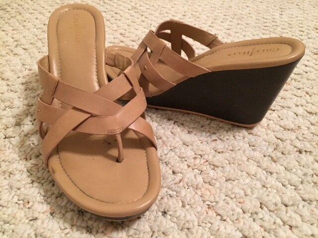 Women's COLE HAAN Tan Wedge Heel Leather Open Sandals, Toe Sandals, Open 7B 2c2d00