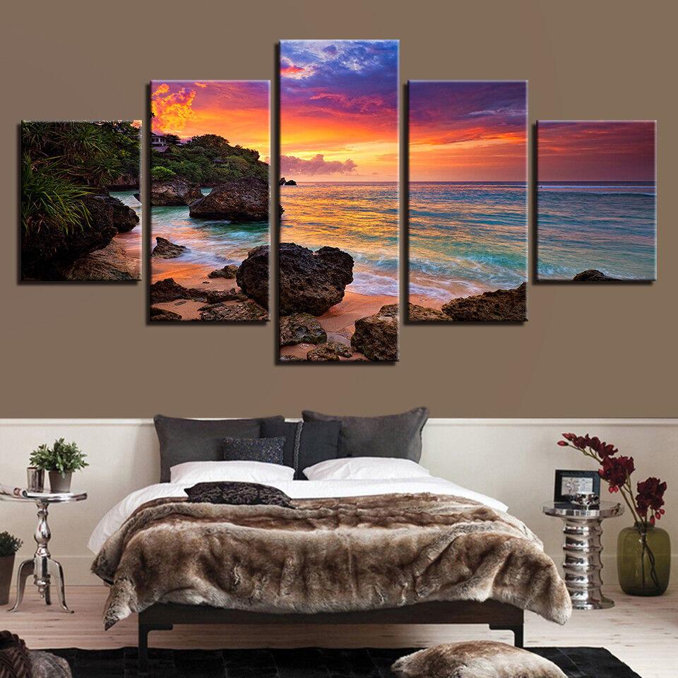 Beach Seascape Evening Sunset Painting 5 Piece Canvas Print Wall Poster Art