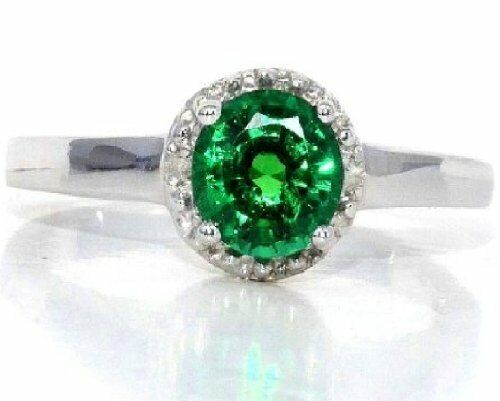 1 Ct Emerald /& Diamond Round Ring .925 Sterling Silver