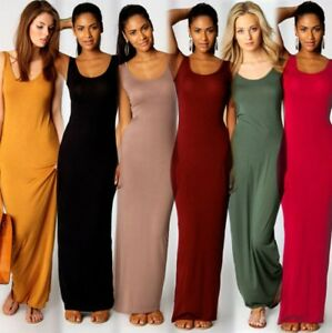 AU-Womens-Holiday-Bodycon-Maxi-Dress-Summer-Beach-Party-Sleeveless-Long-Sundress