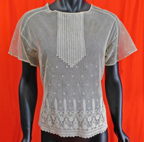 Vintage 1920s Tambour Embroidery Cream Net Polka D