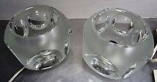 Peill & Putzler Paar Glas Nachttischleuchte Würfel Lampe vintage Icecube ~ 70's