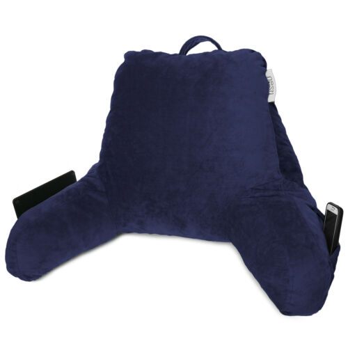 TV /& Bed Rest Pillow Arms Support With Pockets Super Soft Foam Reading Pillow