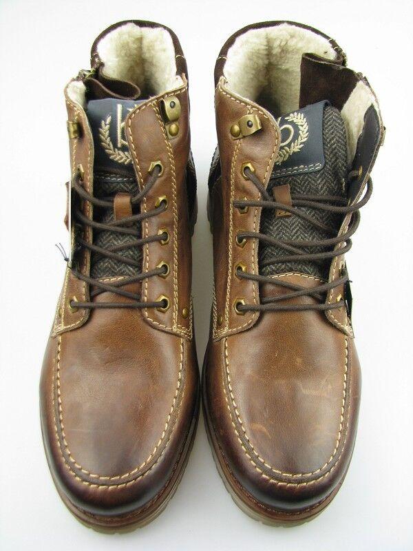 Zapatos casuales salvajes Bugatti señores Boots fs952-8 fox marrón oscuro cuero talla 42