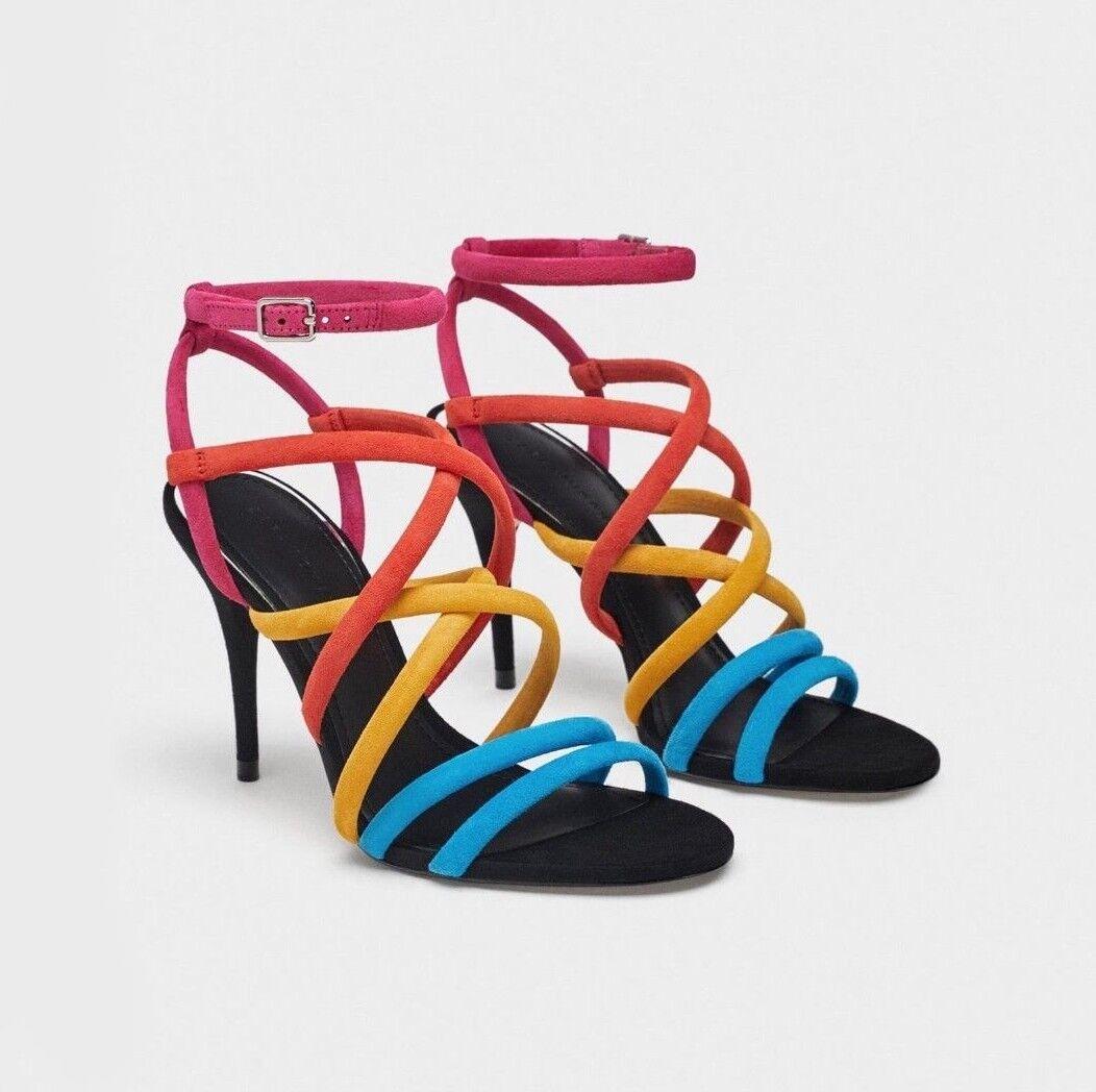 Zara Tacco Alto Sandali in Pelle Tg Scamosciata Con Cinturini colorati Tg Pelle EU 39 a64ab7