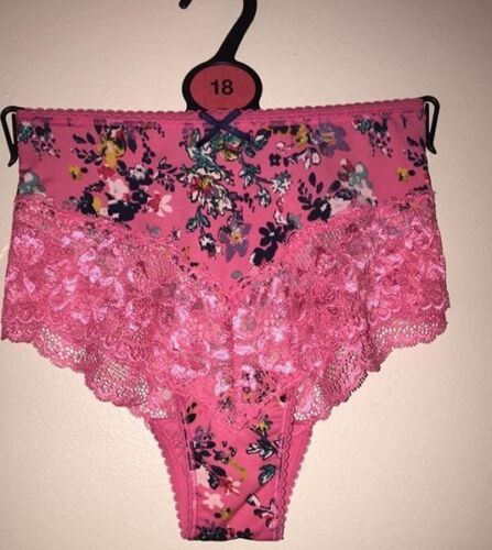Brand New Ex M/&S Floral Print Brazilian Knickers Sizes 6-10-18-28 Hot Pink