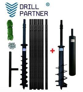DRILLPARTNER MEGA KIT 145+200mm/8-20m + Plunscher Erdbohrer Brunnenbohrgerät