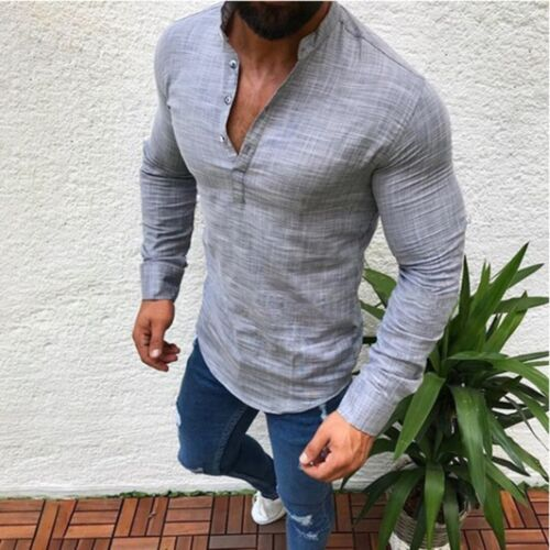 Men/'s Slim Fit V Neck Long Sleeve Muscle Tee T-shirt Casual Tops Henley Shirts