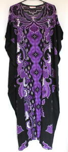 Batik-Kaftan-Calf-Length-Floral-Design-Black-Purple-New