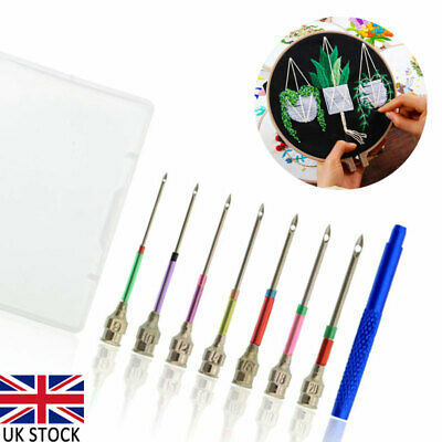 8pcs Embroidery Pen Pin Knitting Sewing Crafts Tools Threader Punch Needle Set
