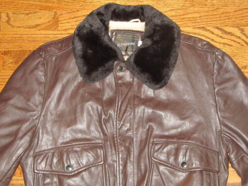 Vtg JCPENNEY Brown Leather Bomber Flight Fur Lined