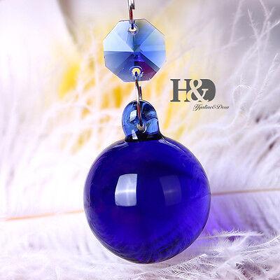 1PCS Royal Blue Crystal Chandelier Ball Healing Prism Wedding Hang Pendants 30MM