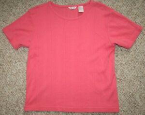 Christopher-amp-Banks-Sweater-Tee-T-Shirt-Short-Sleeve-Cotton-Pink-Medium-Top-Womens