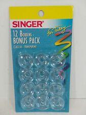 Transparent Plastic Class 15 Bobbins Threaded in Case Assorted Colors 12pk