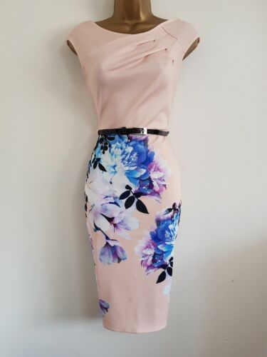 NEW Ex L*PSY 8 10 Nude Pink Floral Print Pencil Bodycon Dress Wedding Occasion