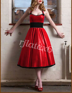 Pure-Latex-Rubber-Sexy-Fashion-Red-and-Black-Elegant-Evening-DressSize-XXS-XXL