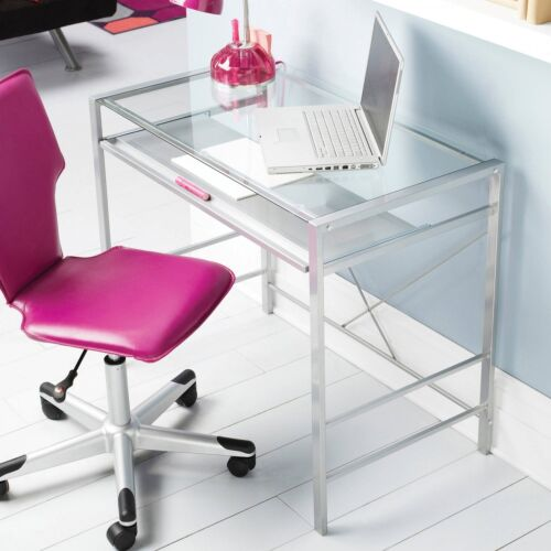 Computer Office Desk Glass Top Home Workstation Laptop Pc Table Study Furniture