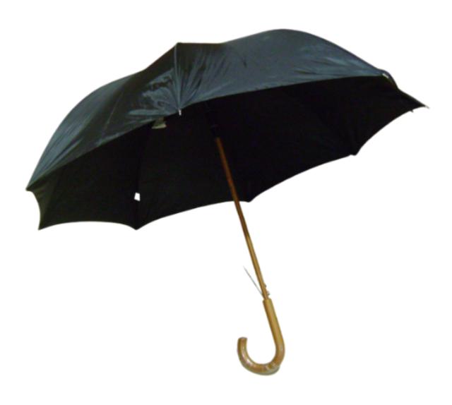 totes Classic Wood Crook Umbrella Black