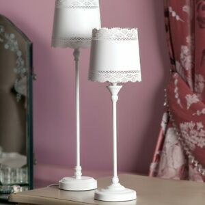White Table Lamp with Lace Effect Shade