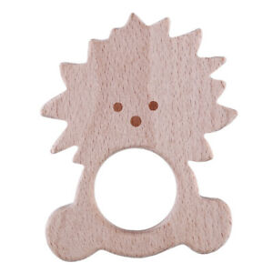 Wooden Safe Natural Cute Animal Shape Ring Baby Teether Teething Cute Shower Toy