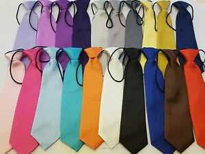 Boys-Satin-Elastic-Neck-Tie-for-Wedding-Prom-christening-Children-Kids-Ties