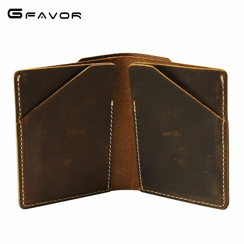 Vintage Bifold Leather Mens Wallet Credit Card Holder Purse Brown Light Yellow