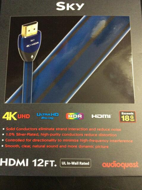 AudioQuest Sky 12/' 4K Ultra HD HDMI Cable New HDMSKY12FTPVC