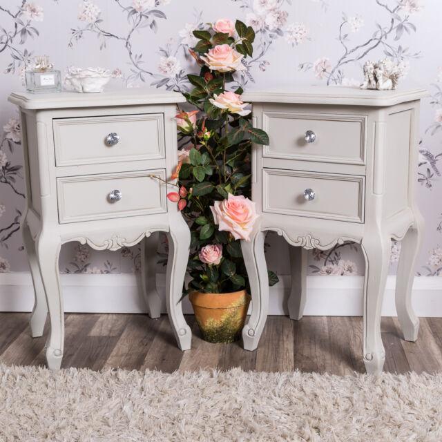 Pair of Bedside Tables Grey Furniture Vintage Chic Bedroom Ornate Bedsides Home