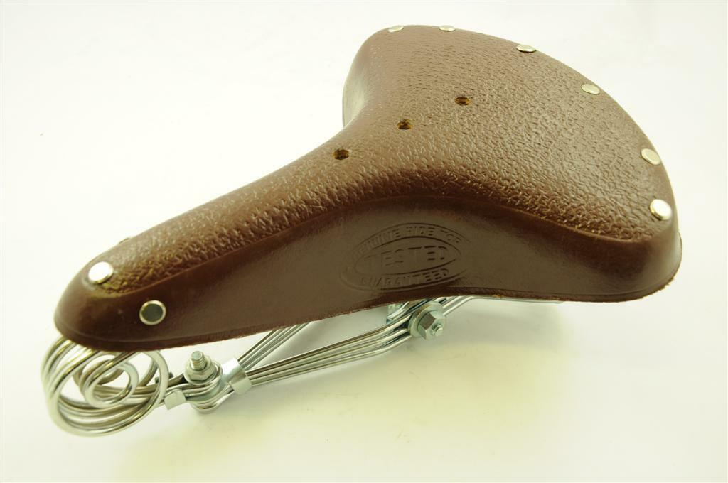 VINTAGE ROADSTER BIKE REAL  LEATHER SPRING SADDLE BROWN TAN SPRUNG CYCLE SEAT  latest styles