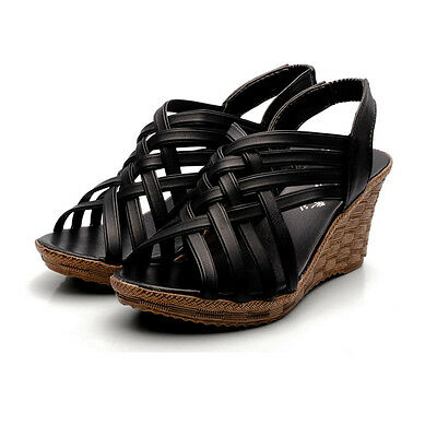Women Wedge Shoes Size 6 Nana Shoes 6.5 Open Toe Ribbon Straps Sandals Casual