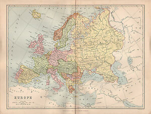 1897 victorian map europe spain france italy british isles image is loading 1897 victorian map europe spain france italy british gumiabroncs Image collections