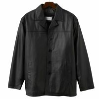 Vintage Leather Car Coat In Black - Size Large - Men's