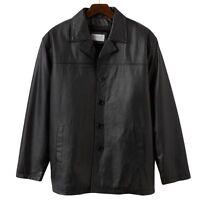 Vintage Leather Car Coat In Black - Size Large - Men's