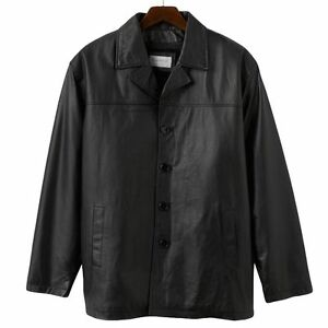 Vintage Leather Car Coat in Black - Size Large - NWT Men's | eBay