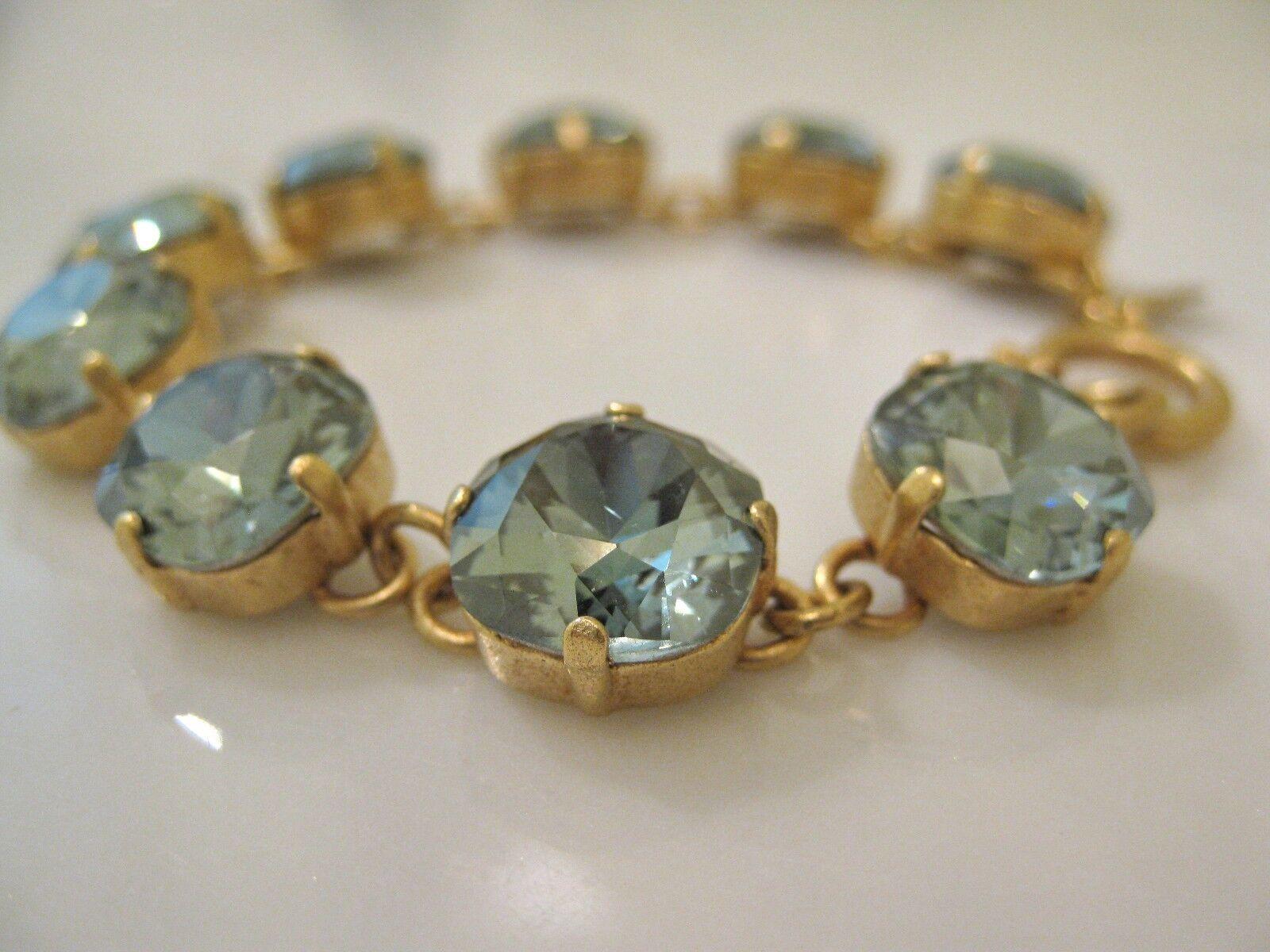 NWT La Vie Parisienne C. Popesco gold Marine Green Crystal Bracelet 1696G
