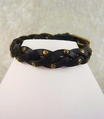 New J Crew Women S Braided Studded Leather Bracelet Black 7 8 L X 1 2 Ebay