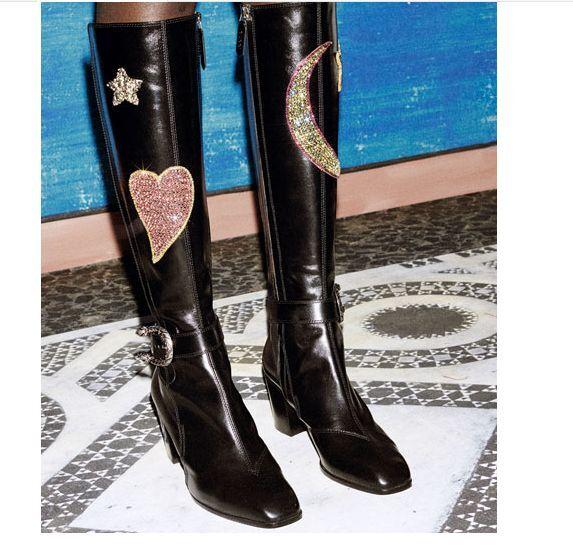 all'ingrosso economico e di alta qualità Ladies Knight genuine leather knee high stivali chunky buckle buckle buckle verde floral scarpe  acquista marca