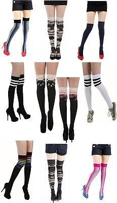 Overknees Strümpfe warm Overknee Baumwolle Damen Socken Überknie farben lang m2