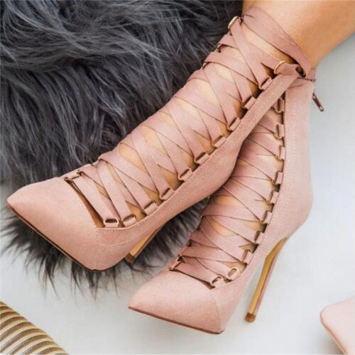 Femme Cross Bracelet Bottines Bout Pointu Chaussures Talon Aiguille Ajourées Talon Haut Pompe