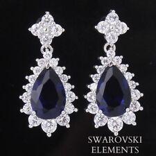 Boucles d'oreilles plaqué or blanc goutte d'eau  Swarovski® Elements bleus