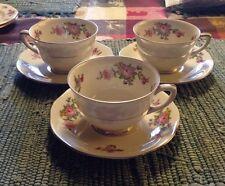 Three F & B Baronet Cream Pattern Bohemia Rose Cups & Saucers