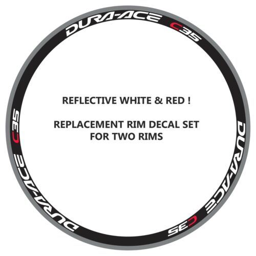 DURA ACE C35 REFLECTIVE WHITE//RED REPLACEMENT RIM DECALS FOR 2 RIMS