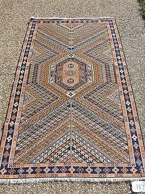4x7ft. Vintage Oriental Azerbaijan Sumak Wool/Silk Rug