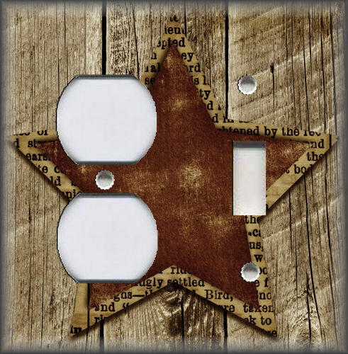 Aged Star Brown Light Switch Plate Cover Country Farmhouse Home Decor