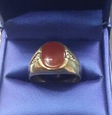 Estate Men / Boys10k Solid Gold Carnelian / Agate Diamond Ring Sz.11 W.5.4 grams