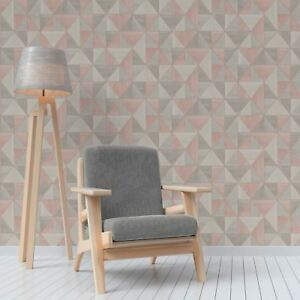Apex Wood Grain Geometric Wallpaper Metallic Fd42224 Fine Decor Rose