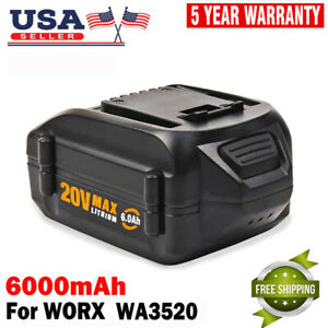 6-0Ah-MAX-20V-Battery-WA3520-For-WORX-Lithium-WA3525-WA3575-WG151S-Tools-Drills