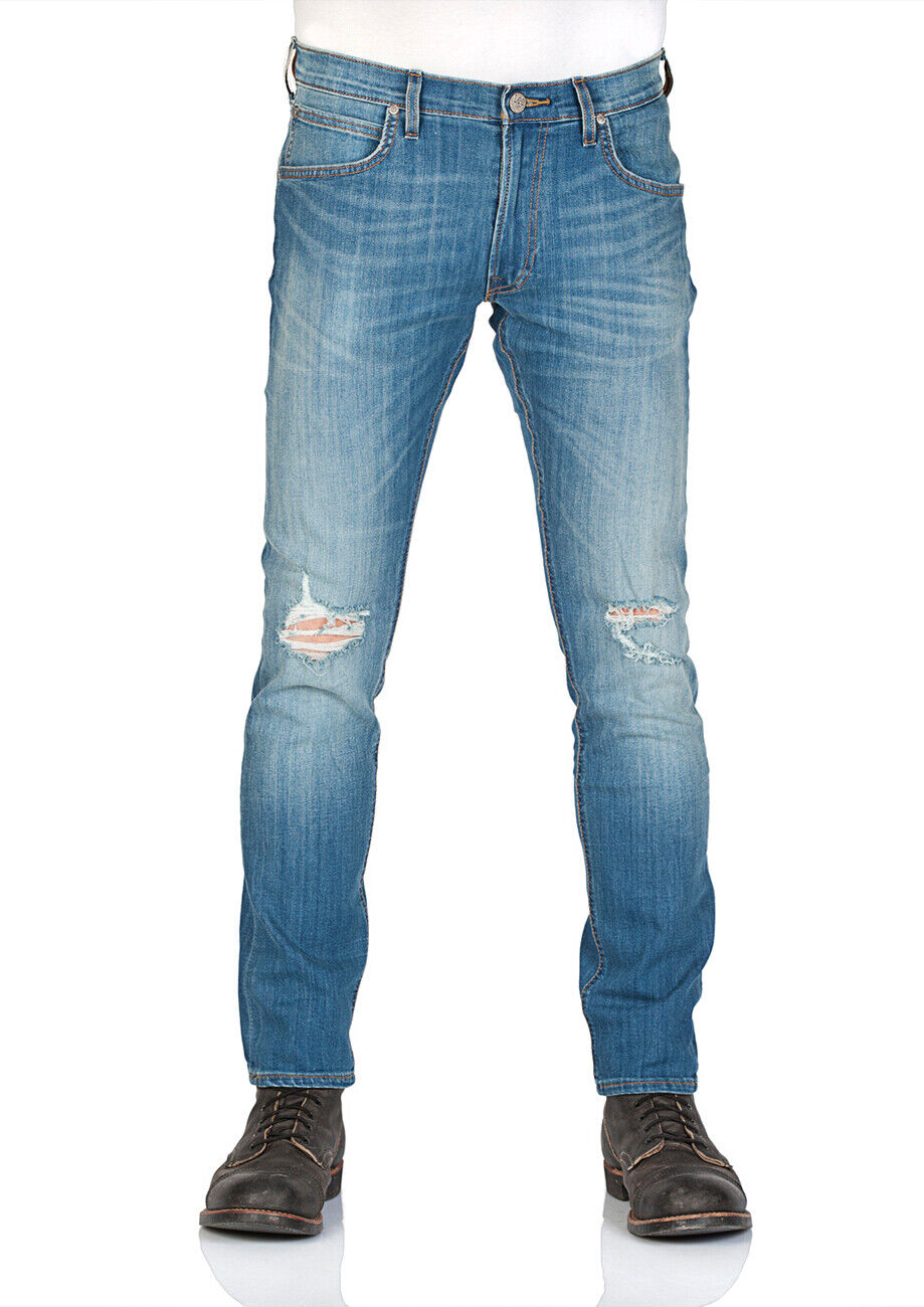 Lee Herren Jeans Luke Slim Taperot Fit - Blau Blau Blau - Slam Damage 132606