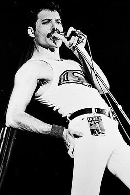 QUEEN 24X36 B&W POSTER PRINT FREDDIE MERCURY VEST AND TIGHT PANTS CONCERT